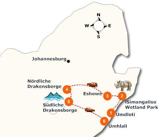 suedafrika-zululand-rundreise-landkarte