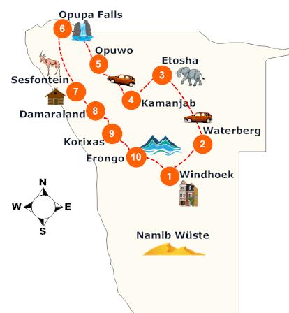 nambia-nordwesten-rundreise-landkarte