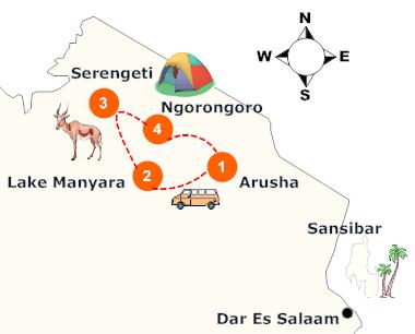 tansania-camping-safari-landkarte