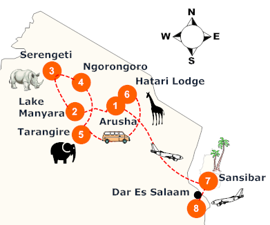 tanzania-safari-hoehepunkte-landkarte